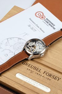 GREUBEL FORSEY, PHILIPPE DUFOUR AND MICHEL BOULANGER. AN EXTREMELY RARE AND IMPORTANT LIMITED EDITION 18K WHITE GOLD SEMI-SKELETONISED TOURBILLON WRISTWATCH